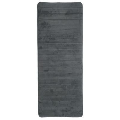 Lavish Home Extra Long Striped Memory Foam Bath Mat Color: Platinum