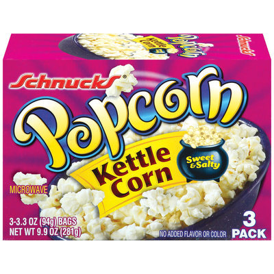 Schnucks Microwave Kettle Corn 3.3 Oz Popcorn 3 Pk Box