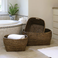 Napa Home and Garden 3733BR Rattan Family Baskets With Handle - Set Of 3