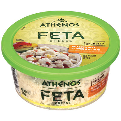 Athenos Feta Crumbled Roasted Bell Pepper & Garlic Cheese 6 Oz Plastic Tub