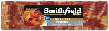 Smithfield® Naturally Hickory Smoked Peppered Thick Cut Bacon 24 oz. Package