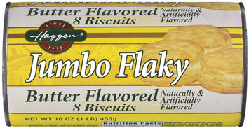 Haggen Jumbo Flaky Butter Flavored 8 Ct Biscuits 16 Oz Cylinder