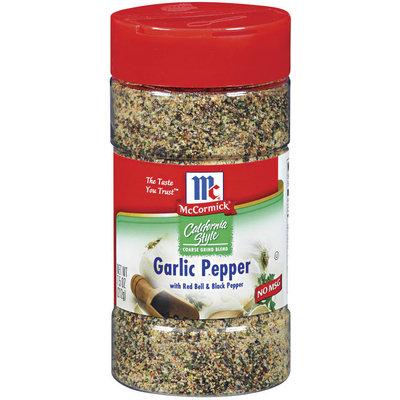 McCormick California Style Coarse Grind Blend W/Red Bell & Black Pepper Garlic Pepper 7.5 Oz Shaker