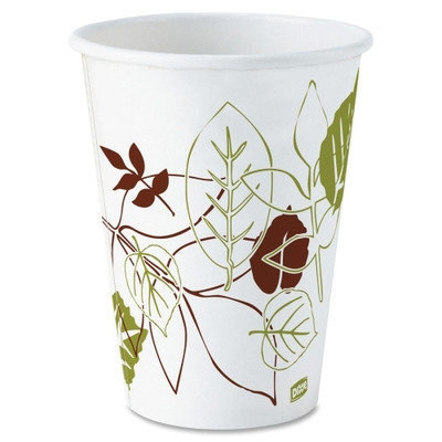 Dixie Paper Cups Hot Cups, Polylined, 120z, 500/CT, Pathways/White
