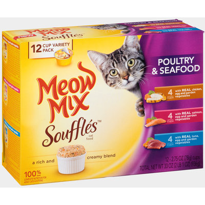 Meow Mix Souffles Poultry & Seafood Wet Cat Food Variety Pack, 2.75-Ounce Cups (Pack of 12)