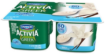 Activia Greek Light Yogurt Vanilla 5.3 Oz 4 Pk Cups