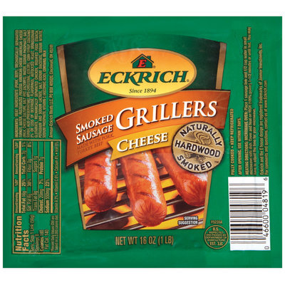 Eckrich Naturally Hardwood Smoked Grillers Cheese Smoked Sausage 16 Oz Pack