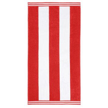Wayfair Basics Superior Oversized Cotton Cabana Stripes Beach Towel Color: Red