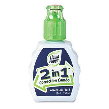 Liquid Paper 42030 2-In-1 Correction Combo- 22 ml Bottle- White