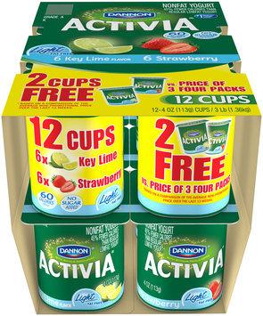 Activia Light Fat Free Yogurt Key Lime/Strawberry 4 Oz 4 Ct