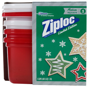 Ziploc® One Press Seal Holiday Red/White Medium Square Containers 4 ct Sleeve