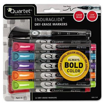 Quartet EnduraGlide Dry Erase Markers, Chisel Tip, Assorted Colors, 12/Set