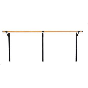 Vitavibe Wall Barre Series Traditional Wood Single Bar Adjustable Height Ballet Barre Kit Size: 8 ft.