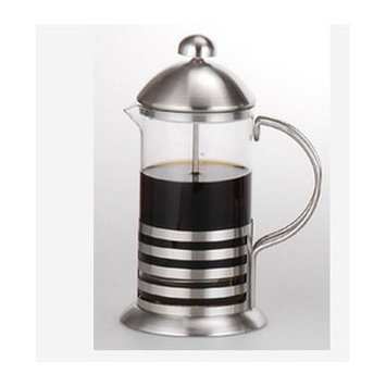 5th Ave Store Glass with Stainless Cappuccino Foam Press Coffee Maker