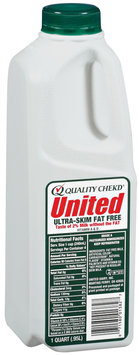 UNITED DAIRY Ultra-Skim Fat Free Milk 1 QT PLASTIC BOTTLE