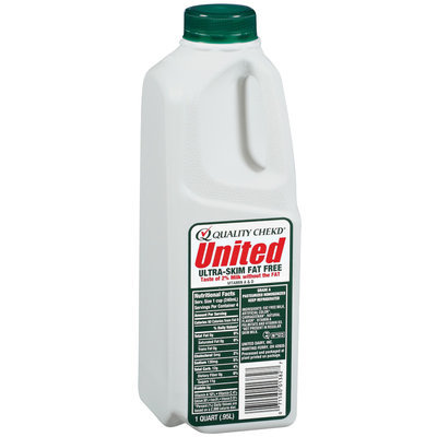 UNITED DAIRY Ultra-Skim Fat Free Milk 1 QT PLASTIC BOTTLE