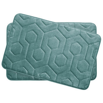 Bath Studio Hexagon Small Plush Memory Foam Bath Mat (Set of 2), Turquoise