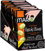 Mario® Pitted Green Snack Olives with a Hint of Garlic 1.05 oz. Pouch
