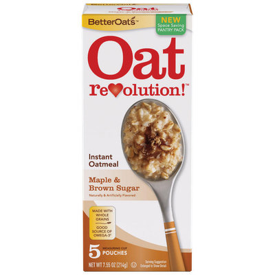BETTEROATS Maple & Brown Sugar 5 ct Instant Oatmeal 7.55 OZ BOX
