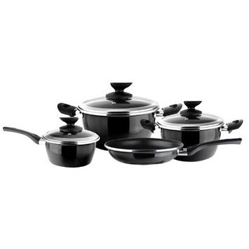 Magefesa Fit Porcelain on Steel 7-pc. Black Cookware Set