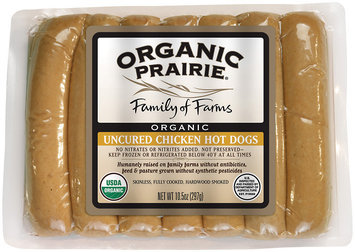 Organic Prairie Organic Frozen 7 Ct Chicken Hot Dogs Uncured 10.5 Oz Package