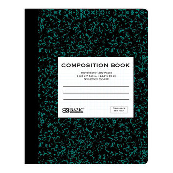 BAZIC Quad-Ruled Green Marble Composition Book(Case of 48)