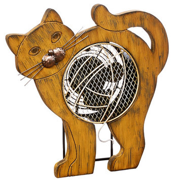 Decoflair Figurine Cat Wood Fan