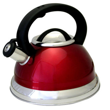 Irc Prime Pacific Red Stainless Steel 3-quart Whistling Tea Kettle