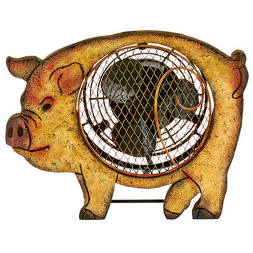 Decoflair Figurine Pig Wood Fan