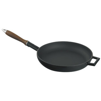 Lava Cookware Signature Enameled Cast-Iron French Skillet, 11, Black Obsidian