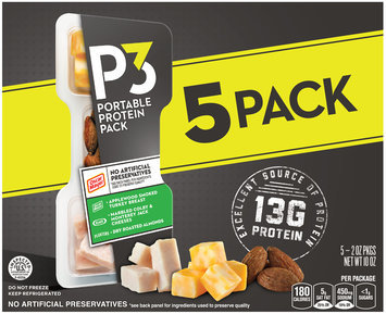 P3 Turkey Breast, Colby & Monterey Jack & Almonds Portable Protein Pack 5-2 oz. Trays