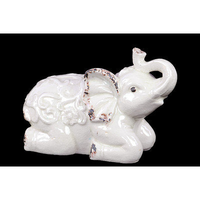 Benzara BRU-609432 Sitting Ceramic Elephant with Raised Trunk Embellished with Beautiful Motif on the Back in White