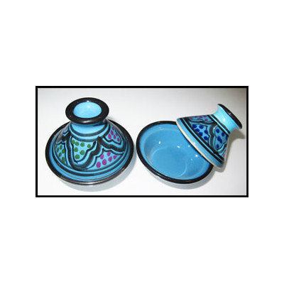 Le Souk Ceramique Mini Tagines Round with Lid Color: Turqa