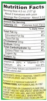Furmano's® Whole Peeled Tomatoes No Salt Added 14.5 oz