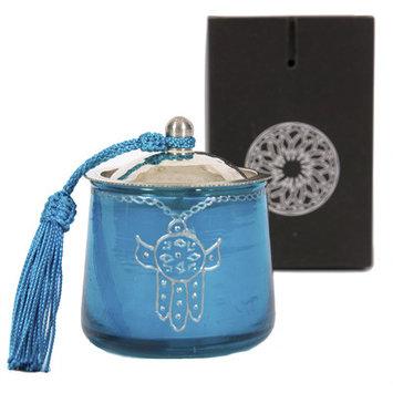 Casablanca Market Moroccan Khamsa Jar Candle, Blue / Silver