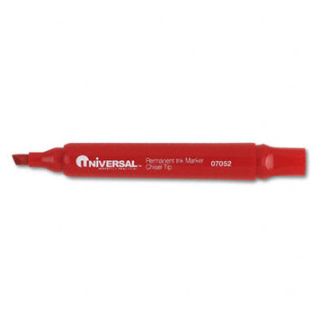 Universal Products Universal Office Products 07052 Permanent Markers Chisel Tip Red Dozen