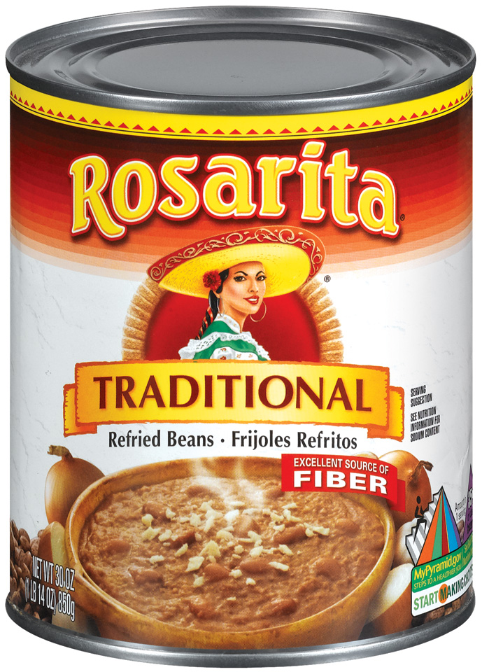 Rosarita Traditional 98% Fat Free  Refried Beans 30 Oz Can