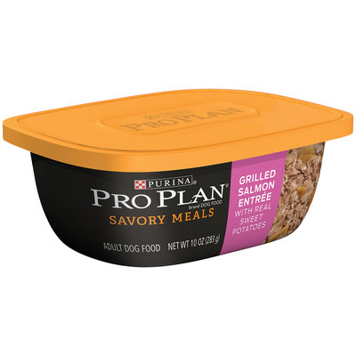 Purina Pro Plan Savory Meals Grilled Salmon Entree with Real Sweet Potatoes Adult Dog Food 10 oz. Tub