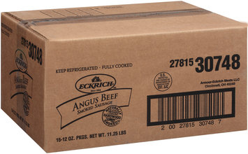 Eckrich Naturally Hardwood Smoked Angus Beef Skinless Smoked Sausage 12 Oz Pack
