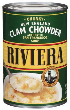 Riviera Clam Chowder New England Chunky Soup 15 Oz Can