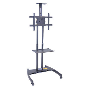 H Wilson Height Adjustable Moving Flat 32 - 60 Inch LCD TV Stand Cart Gray