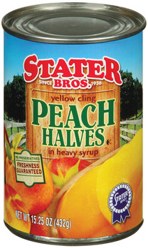 Stater Bros. In Heavy Syrup Yellow Cling Peach Halves 15.25 Oz Can