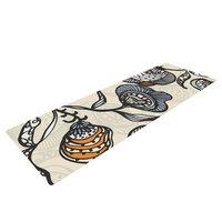 Kess Inhouse Future Nouveau by Gill Eggleston Floral Yoga Mat Color: Tan