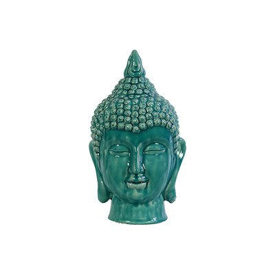 Benzara Religious and Spiritual Ceramic Buddha Head in Blue