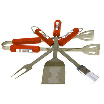 BSI Products Illinois Fighting Illini 4 Pc Bbq Set