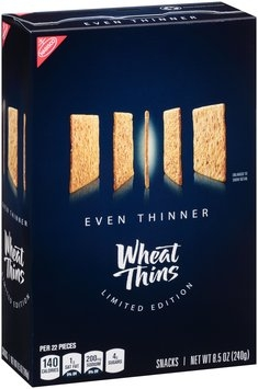 Nabisco Wheat Thins Limited Edition Even Thinner Snacks 8.5 oz. Box