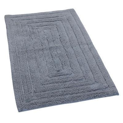 Textile Decor Castle 100% Cotton Racetrack Spray Latex Back Bath Rug, 34 H X 21 W, Silver