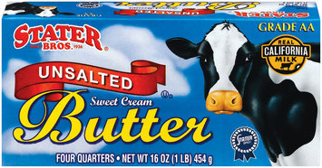 Stater Bros. Unsalted Sweet Cream 4 Quarters Butter 16 Oz Box