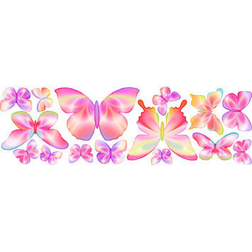 4 Walls Fluttering Butterfly Wall Decal Color: Pink