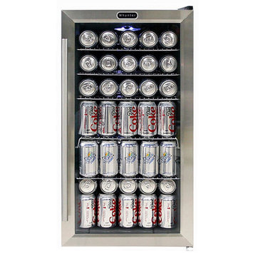 Whynter Compact Refrigerator 17 in. 120 (12 oz.) Bottle Beverage Refrigerator in Black/Stainless Steel BR-130SB
